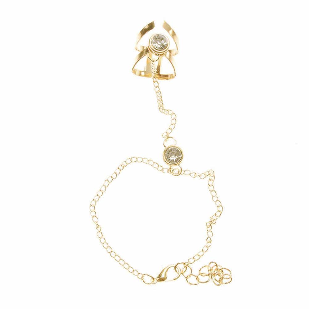 Moda hueco geométrico Rhinestone incrustado anillo pulsera Boda nupcial joyería