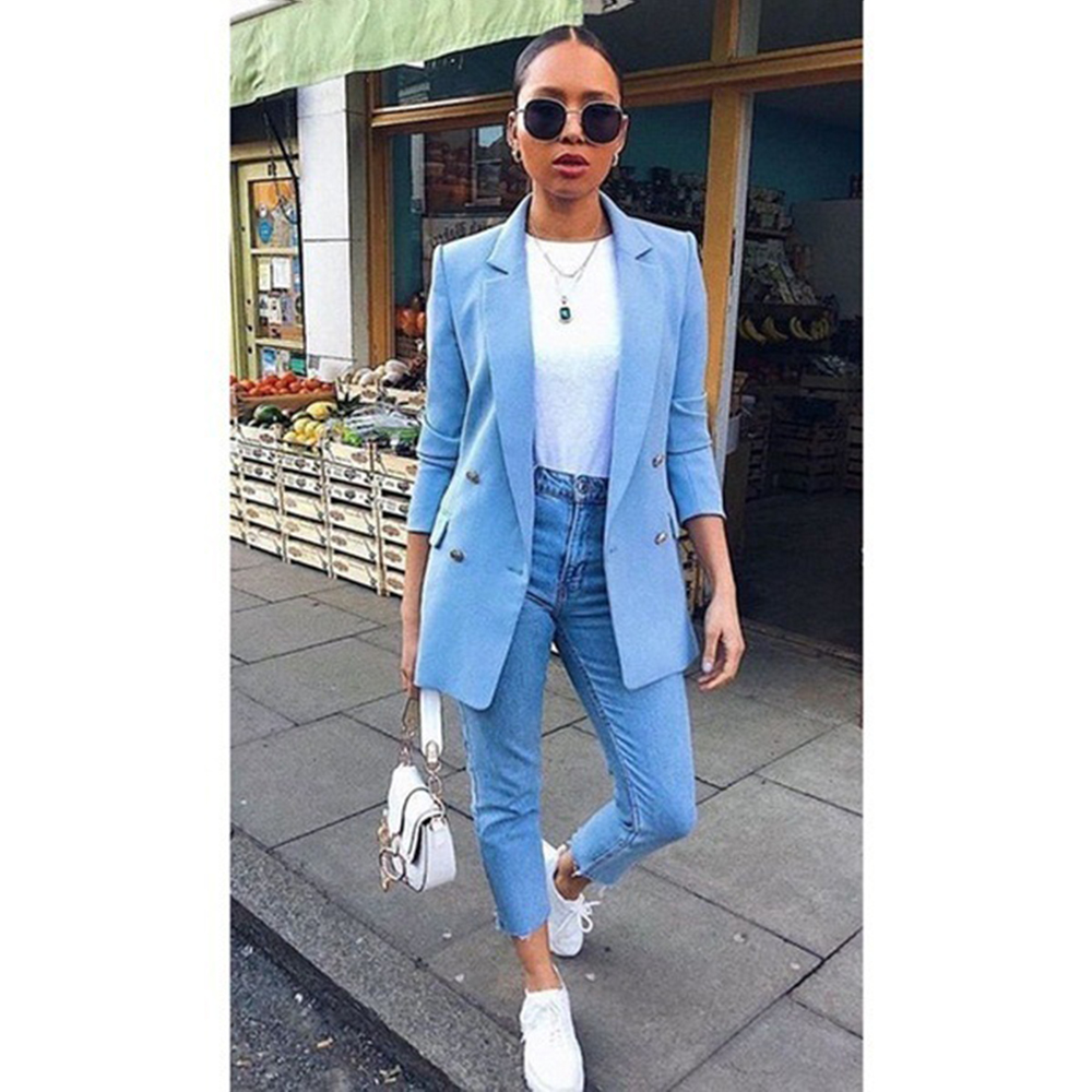 Women Basic Notched Collar Solid Blazer Fashion Spring Autumn Suit Slim Coat Office Ladies Blazer Outwear Chic Tops Plus Size