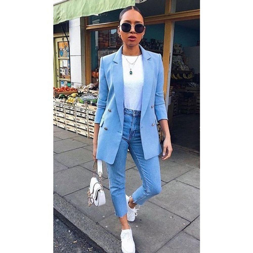 Women Basic Notched Collar Solid Blazer Fashion Spring Autumn Suit Slim Coat Office Ladies Blazer Outwear Chic Tops Plus Size