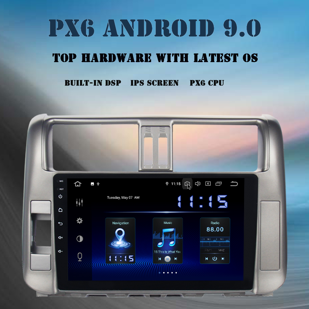 <font><b>2</b></font> <font><b>din</b></font> Android 9.0 <font><b>car</b></font> multimedia player <font><b>for</b></font> <font><b>Toyota</b></font> <font><b>Prado</b></font> <font><b>2010</b></font> 2011 2012 2013 <font><b>radio</b></font> PX6 DSP HDMI 4GB+64GB 9