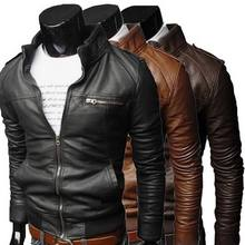 Hot Fashion Mens Cool Bomber Jassen Mannen Jas Herfst Winter Kraag Slim Fit Motorfiets Leren Jas Jas Uitloper Streetwear(China)