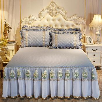 1/3pcs Luxury Bedspreads Bed sheet Pillowcase Thick Cotton Bed Skirt Lace Bed cover Twin Queen King Size Bedding Set Non-slip