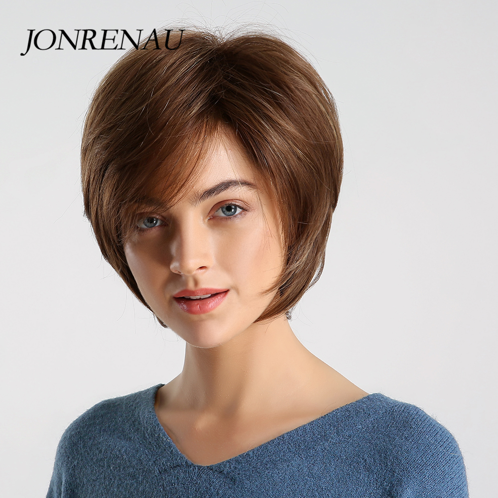 JONRENAU 8 Inches Synthetic Short Straight Wig Natural Brown And Mixed Color Pixie Cut Wigs For Women
