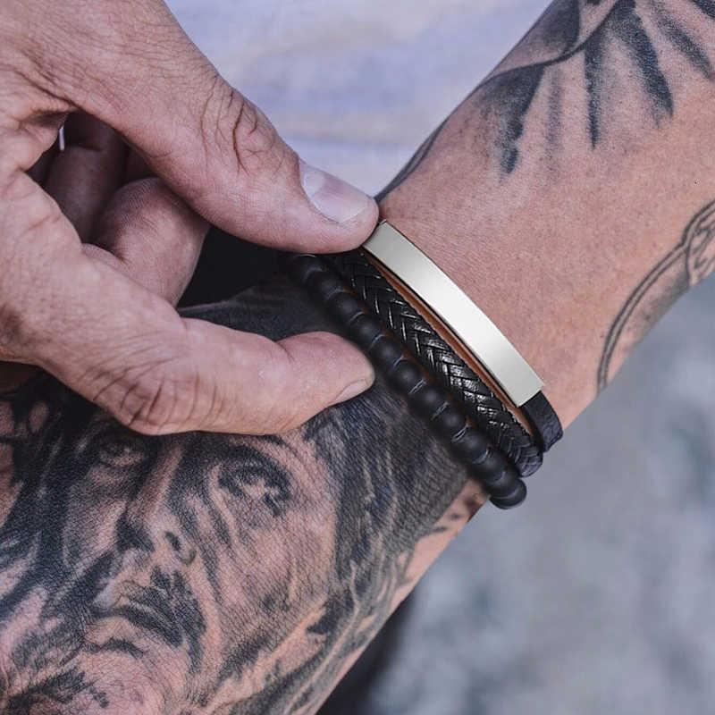 Karneol koraliki z potrójnym splotem plecione skórzane warstwowe bransoletki dla mężczyzn zapięcia magnetyczne ze stali nierdzewnej mężczyzn prezenty na rękę