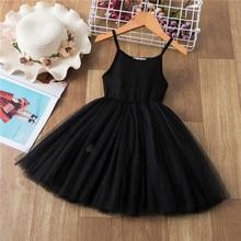 Платье-жилет для девочек, однотонное черное платье без рукавов для Хэллоуина, женское Хлопковое платье для детской вечевечерние, платье на ...