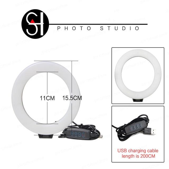 Mini lampada da tavolo a LED da 6 pollici con anello Video lampada Selfie con treppiede spina USB per YouTube Tik Tok Studio fotografico dal vivo 2