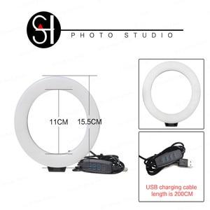Image 2 - Mini anillo de luz LED para Selfie de 6 pulgadas, lámpara de vídeo de escritorio con trípode, Clip para teléfono para estudio de fotografía de YouTuber