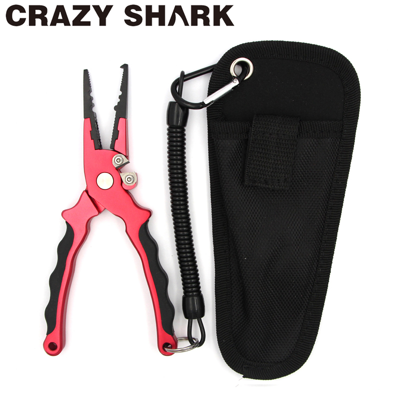Crazy Shark 17cm Aluminum Fishing Pliers Split Ring Cutter Carp Crimping Lead Fish Holder Tackle Hook Remover Goods For Fishing