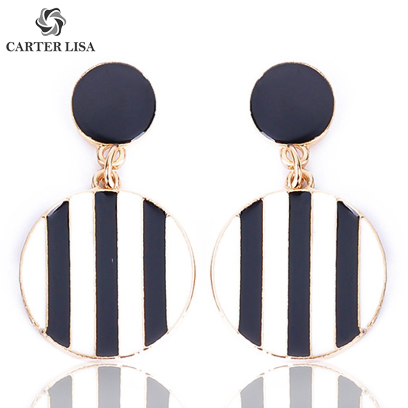 CARTER LISA Simple Black And White Stripe Geometric Round Drop Dangle Earrings For Women Girl Fashion Modern Jewelry Party Gifts