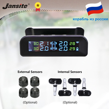 Jansite TPMS Car Tire Pressure Alarm Monitor System Real time Display Attached to glass wireless Solar power tpms with 4 sensors