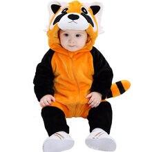 Umorden niemowlę maluch Cartoon zwierząt Raccoon kostiumy Kigurumi dla chłopców dziewcząt body kombinezon Onesie flanelowe wygodne