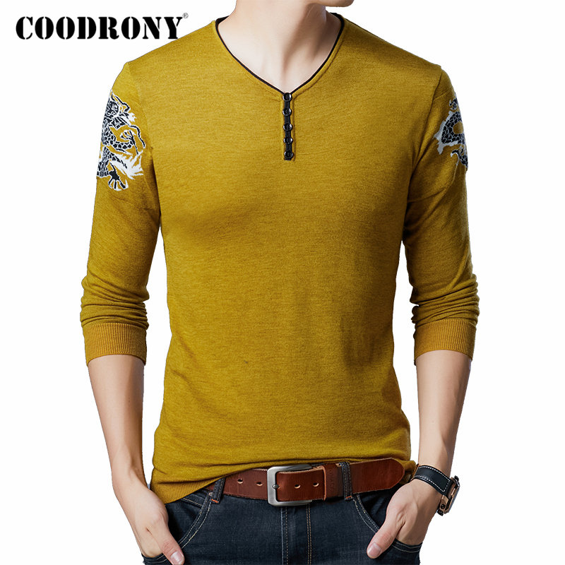 COODRONY Brand Sweater Men Autumn Winter Button V-Neck Pullover Men Streetwear Fashion Knitwear Pull Homme Plus Size Shirt 91096