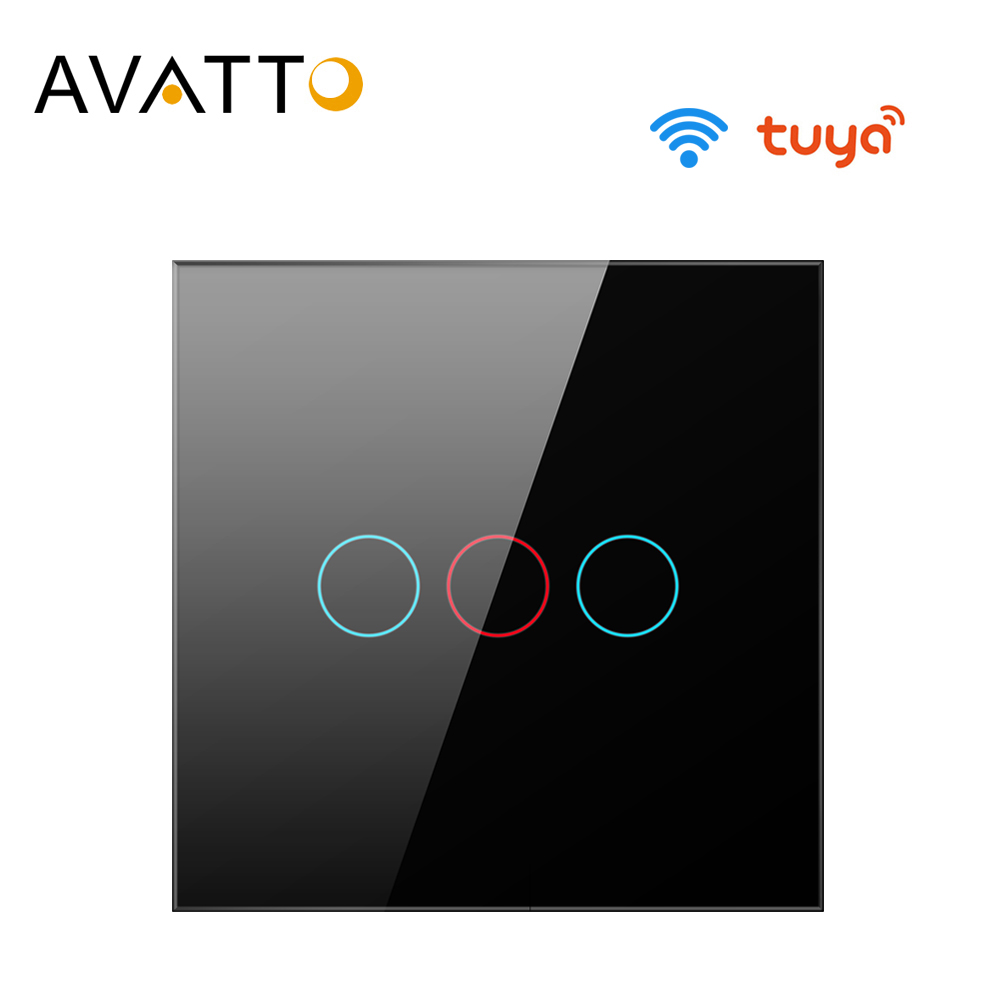 AVATTO Tuya EU WiFi Switch with Glass Panel Smart Life App interruptor Smart Home Switch 1 2 3 Gang work for AlexaGoogle Home