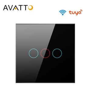 AVATTO EU/UK Интеллектуальный переключатель Wi-Fi, 1/2/3 Стекло настенный сенсорный выключатель Модуль Автоматизации