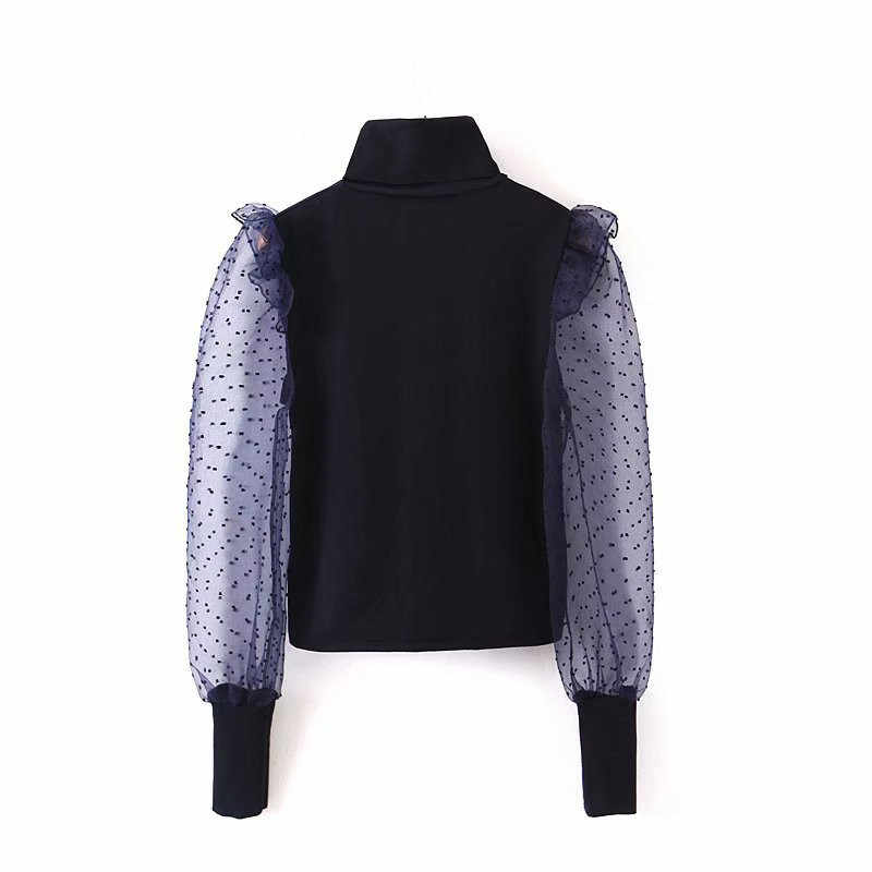 Women Sexy Polka Dot Mesh Patchwork Blouse Turtleneck Long Sleeve See Through Shirts Female Casual Chic Tops Blusas
