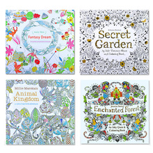 4pcs/lot 24 Pages Animal Kingdom English Edition Coloring Book for Children Adult Relieve Stress Kill Time Painting Drawing