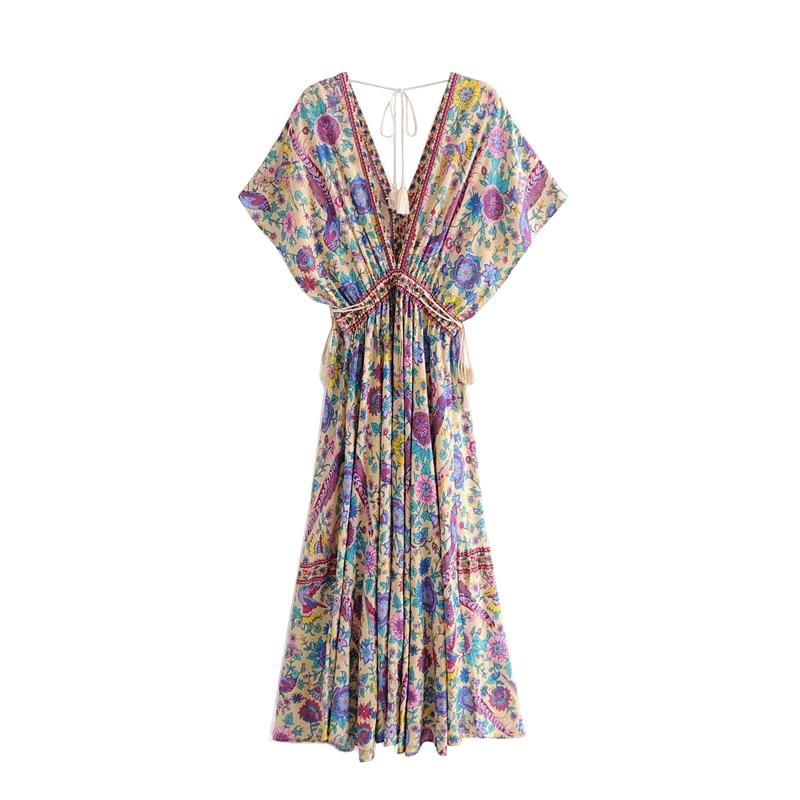 Boho Chic Summer Vintage Bird Floral Print Long Dress Women 2019 Fashion V Neck Lace Up Tassel Beach Dresses Vestidos Mujer