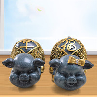 Resin crafts European blue medium happy pig ornaments Creative living room TV cabinet home decorations