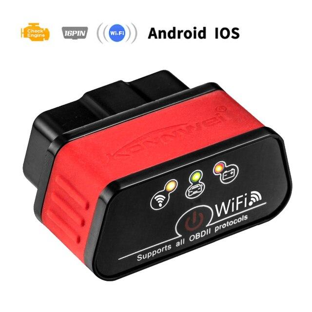 ELM327 WIFI araç teşhis tarayıcı Automotivo ODB 2 Autoscanner KW903 ELM 327 Wi fi OBD2 Bluetooth adaptörü Iphone Android için