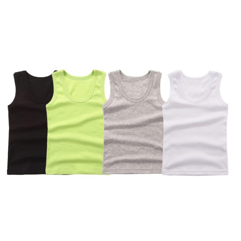 3-8Y Kids Underwear Cotton Girls Boys Tanks Tops Baby Boy Summer Vest Girl Camisole Children Solid Undershirt Sleeveless Vest 1