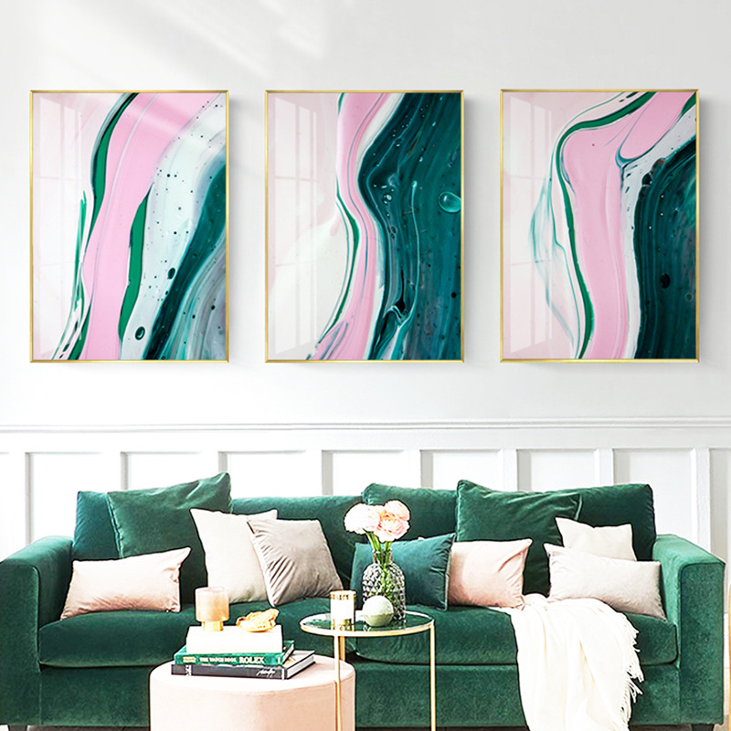 Nordic Modern Creative Abstract Green pink Gold Foil Art Canvas Poster Oil Painting Print Wall Picture for Living Room Decor