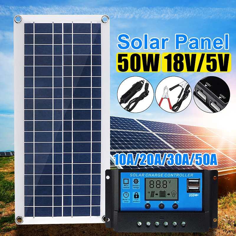 40W Solar Panel 12V 5V USB Portable Solar Panel Cells+ 10/20/30/40A Controller for Car Yacht RV Charging Outdoor Emergency Light