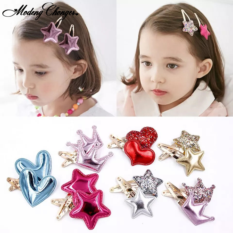 2 Pcs Fashion  BB Clips Princess Headwear Barrettes Hair Holder Girls Cute Shine Heart Crown Star Hairpins Kids Hair Accessories