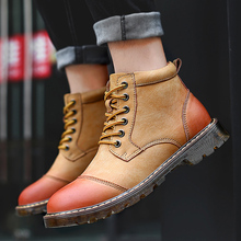 цена Vintage Rome Men Boots Winter Leather Chelsea Boots Warm Thick Plush Ankle Men Casual Shoes Fur Work&safety Snow Boots Plus Size