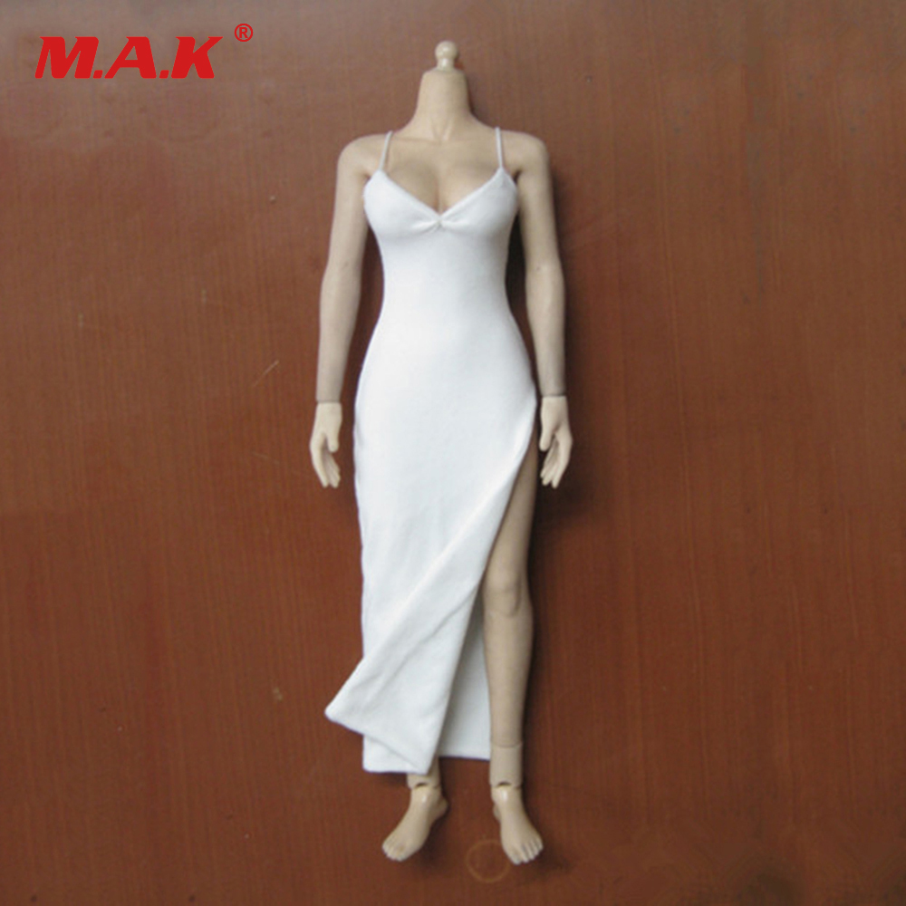 <font><b>1</b></font>/<font><b>6</b></font> <font><b>Sexy</b></font> White Dress Slit Skirt Hot Figures Accessory fit 12