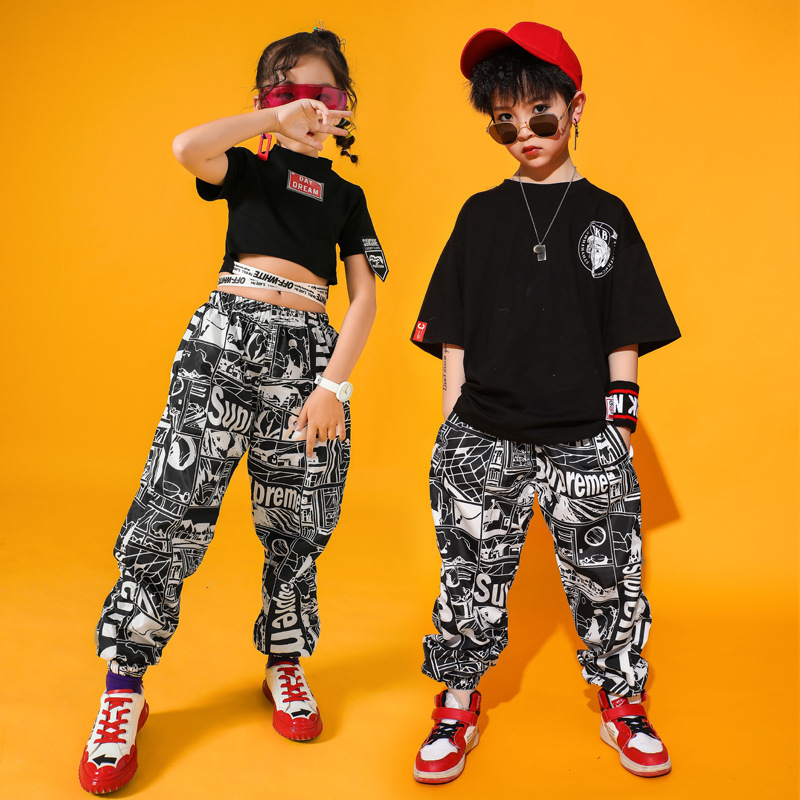 Kids Dance Costumes Hip Hop Costumes For Girls Boys Ballroom Jazz Dancing Crop Top T Shirt Pant Clothes Dance Outfits Stage Wear