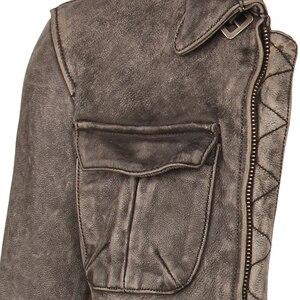 Image 3 - ヴィンテージユーズド加工オートバイの革のジャケット厚い 100% 天然牛革スリムモトバイカー革コート男性冬服 M217