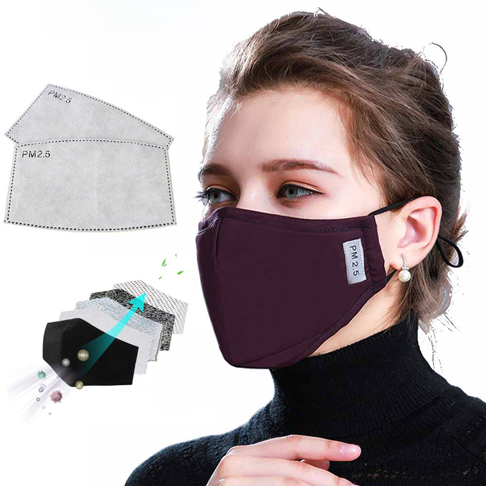 10 PCS Filter Fashion Mask Anti Pollution PM2.5 Mouth Respirator Washable Reusable Dust Masks Cotton Unisex Mouth Muffle Black