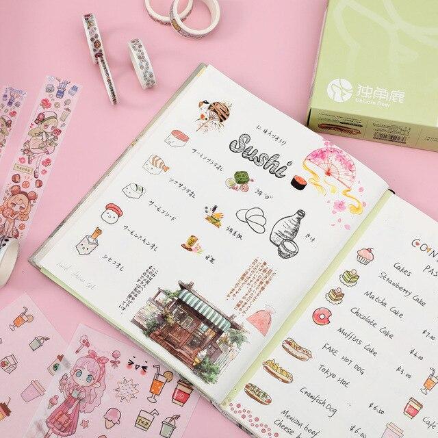 9 + 7 pièces cadeau paquet autocollant Washi ruban ensemble mignon Dessert fille papier rubans pour Journal Scrapbooking bricolage déco Kawaii rubans de masquage