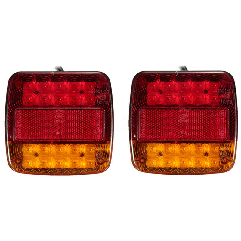 2pcs 12V LED Car Trailer Truck Taillight Brake Stop Turn Signal Light AS+ABS Super Bright Shock Resistant Universal