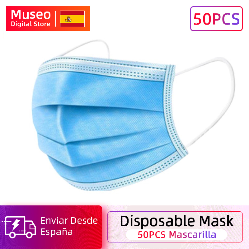 50 Pieces Bag  Disposable Mask 3 Layer Non-woven Dust Face Mask Thickened Disposable Mouth Mask Dust Filter Safety Mask