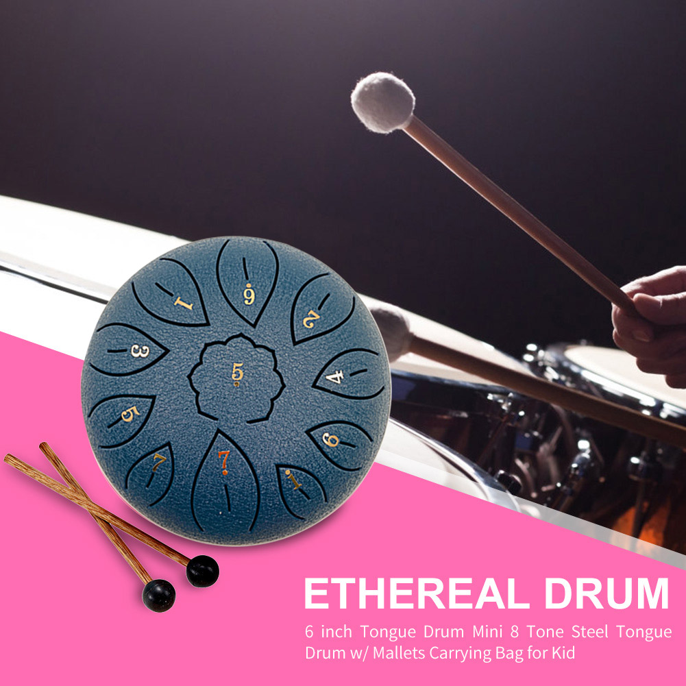 8/11 Tune Tongue Drum 6 Inch Steel Tongue Drum Kits With Drumstick Finger Cots Drum Bag Drumstick Stand Instruments Accessories