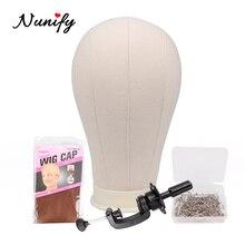 Nunify hat 디스플레이 스탠드 마네킹 헤드 스탠드 소프트 코르크 캔버스 블록 헤드 헤드 weft toupee and closure wig making tools