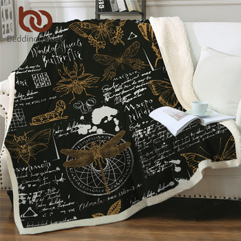 BeddingOutlet Insects Throw Blanket Butterfly Beetle Bedding Dragonfly Retro Custom Blanket Sketches Vintage Plush Bedspreads