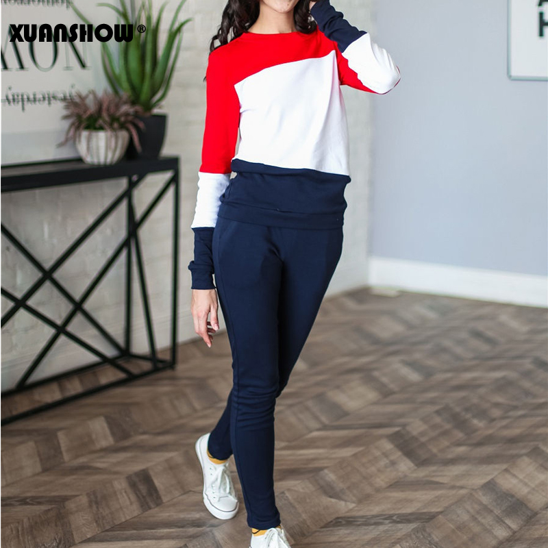 XUANSHOW 2019 Tracksuit Women Sportswear Autumn Winter Splice Long Sleeve Fleece Long Pant 2 Piece Set Lady Outfit Clothes S-XXL