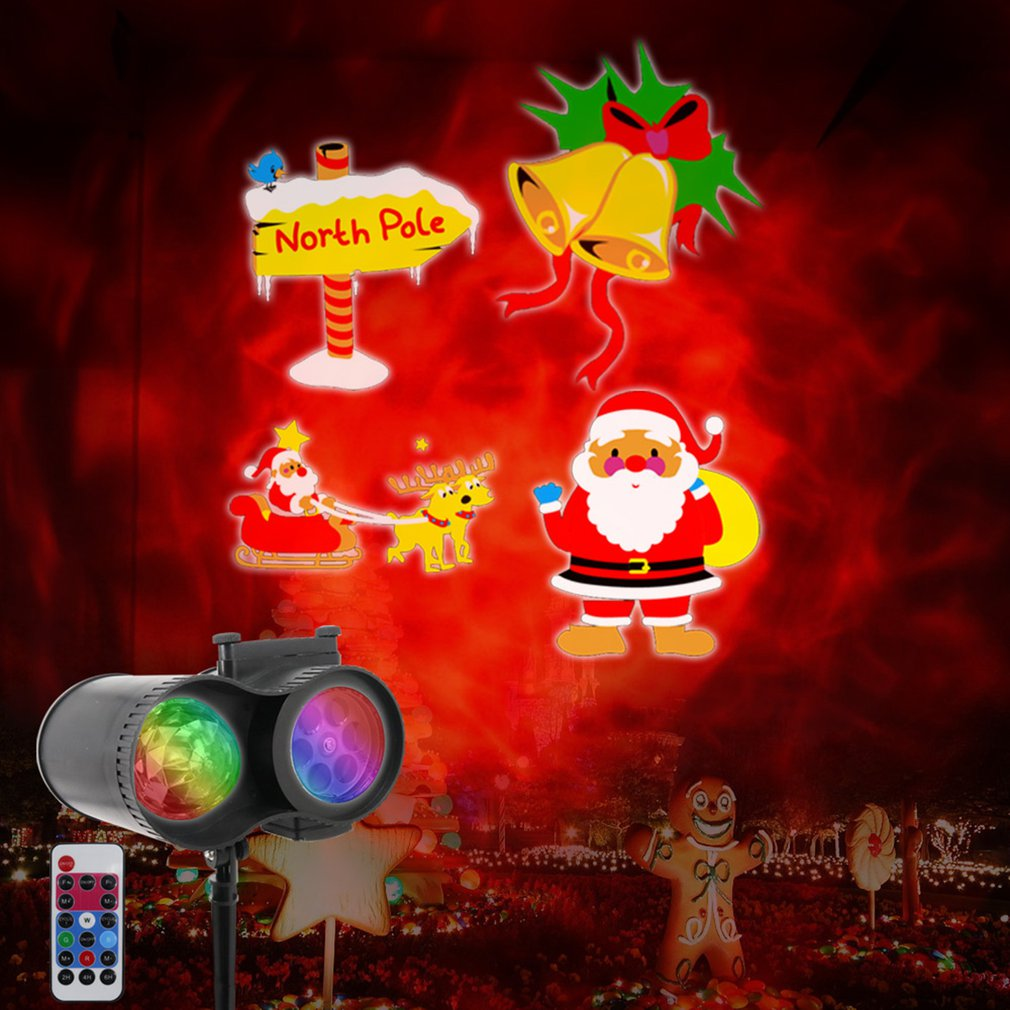 Portable Christmas Halloween Projector Light Double Tube Watermark LED Lamp To Project 10 Colors 20 Patterns Festive Decoration
