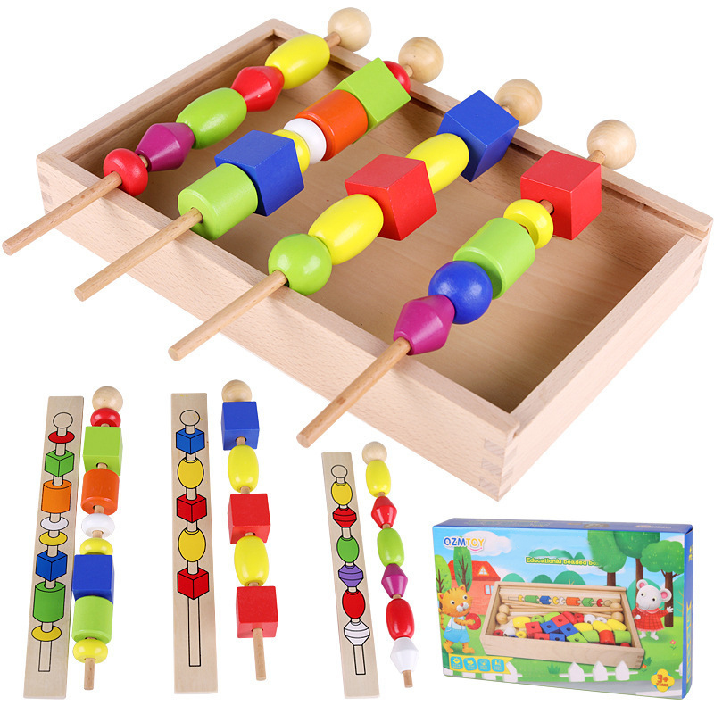 Baby Wooden Beads Toys Box Set DIY Beading Toy Kids Stringing Wooden Stick Beads Game Montessori Toys Early Education Toys