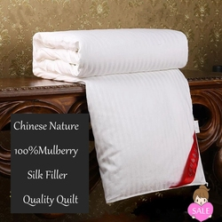 Quality Natural Mulberry Silk Comforter Hand-work Silk Quilt 100%Silk Filler Cotton Fabric Cover Silk Blankets White/Pink/Yellow