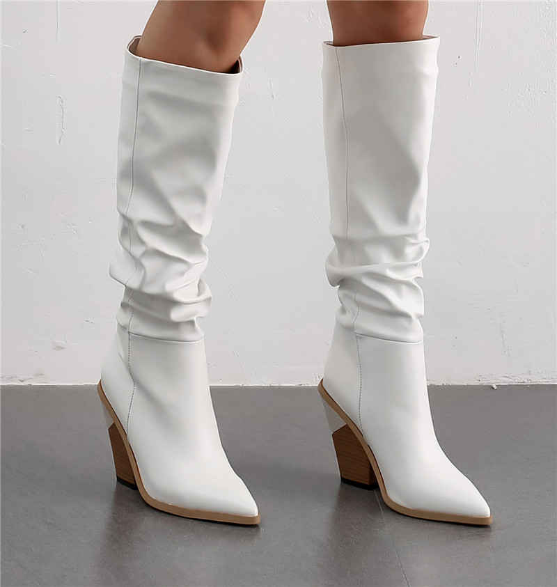 Image 5 - MORAZORA 2020 Hot Brand knee high boots women pointed toe thick high heels autumn winter boots solid colors dress shoes woman-in Knee-High Boots from Shoes