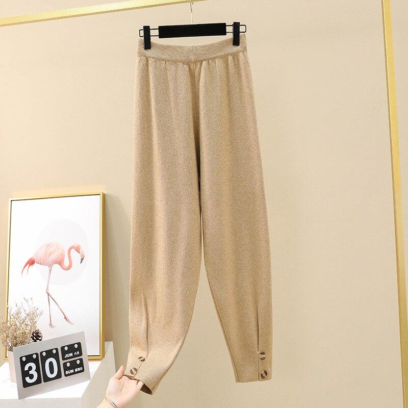 Осенние женские повседневные штаны-шаровары, свободные брюки для женщин, зимние теплые толстые вязаные штаны-свитера, женские брюки редис - Цвет: Khaki