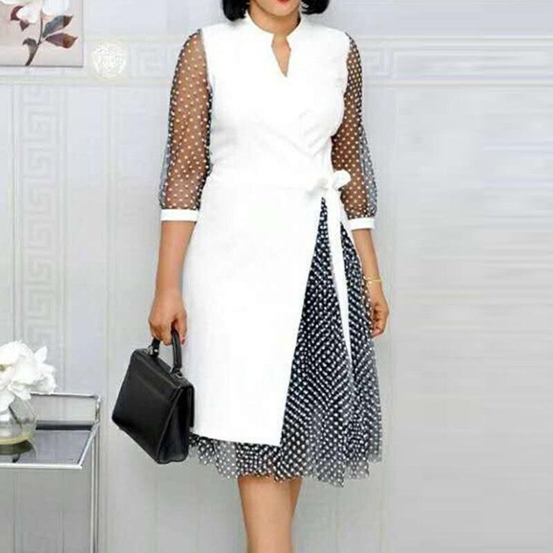 African lace wave point sexy deep V stitching split chiffon big swing dress 2019 winter autumn elegant retro belt dress in Dresses from Women 39 s Clothing