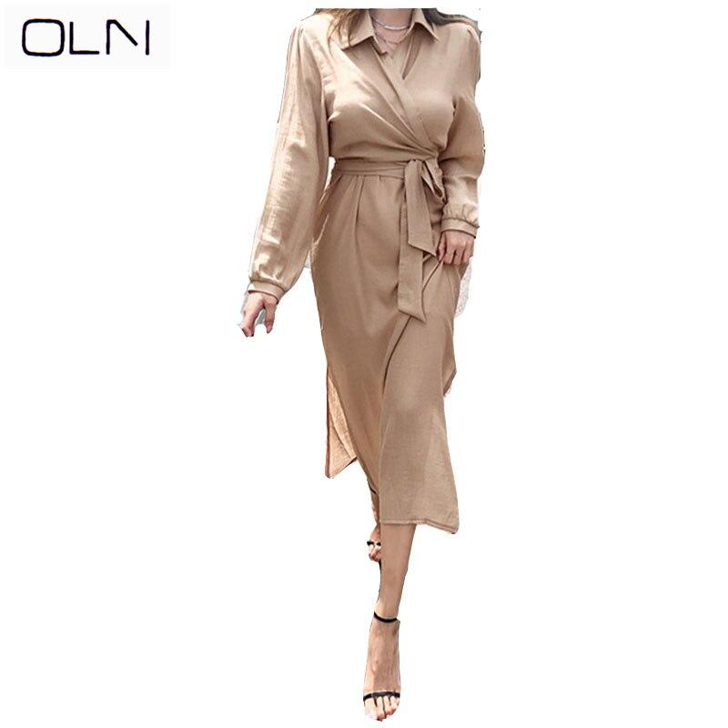 ONL Autumn Dress  Korean New Arrival Wholesale Vestidos  Two-piece 2019 Temperament Tie Waist Shirt Top Fashion Strap Dress Set