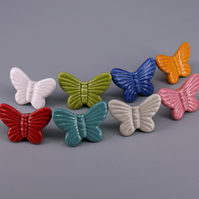 1pc New Kitchen Cabinet Knobs colorful Butterfly Ceramic Pull Children kid Door Drawer Furniture Handle Knob