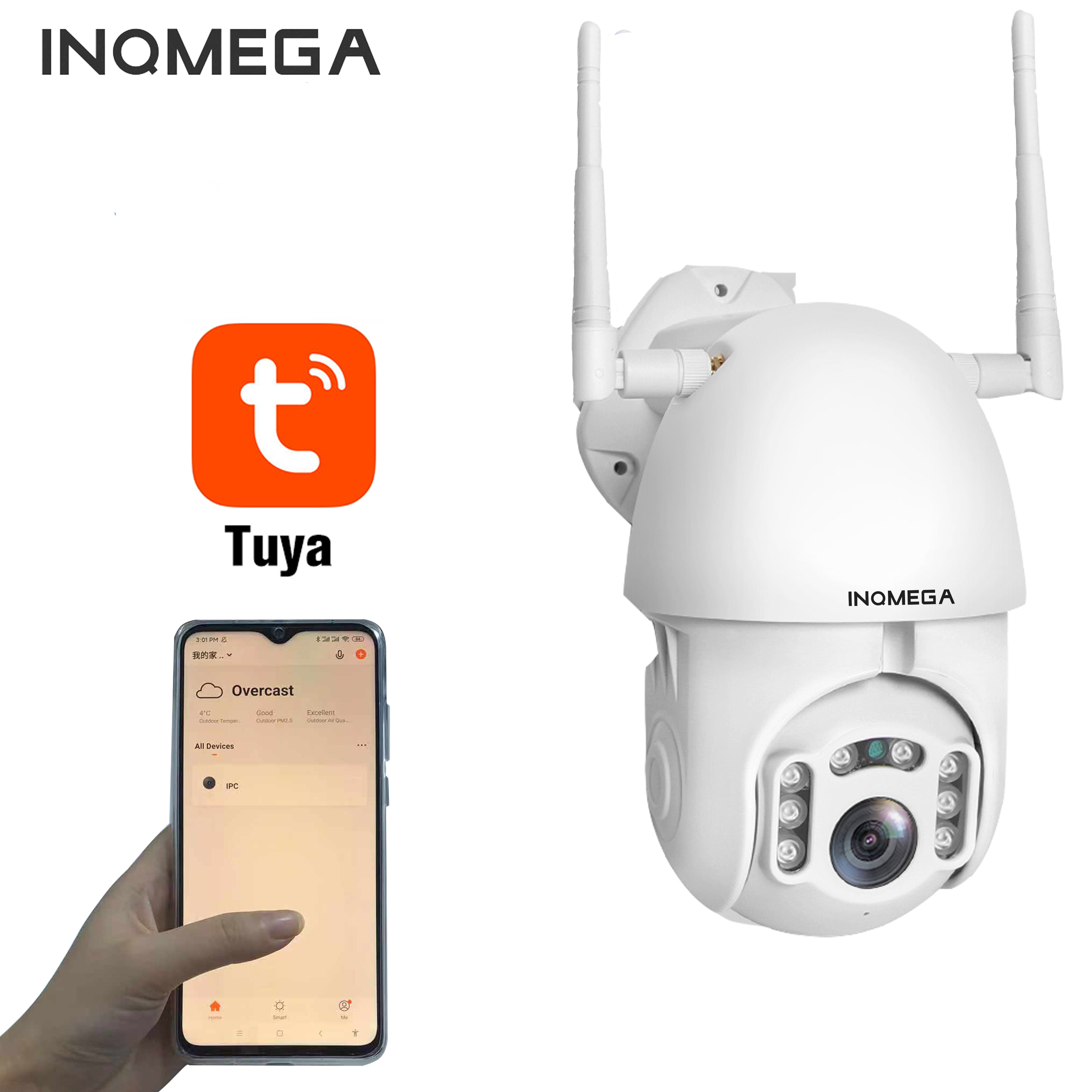 INQMEGA Outdoor IP66 Waterproof Camera 1080P FHD TUYA Life PTZ Home Monitor Bidirectional Voice Dynamic Tracking Security Alarm