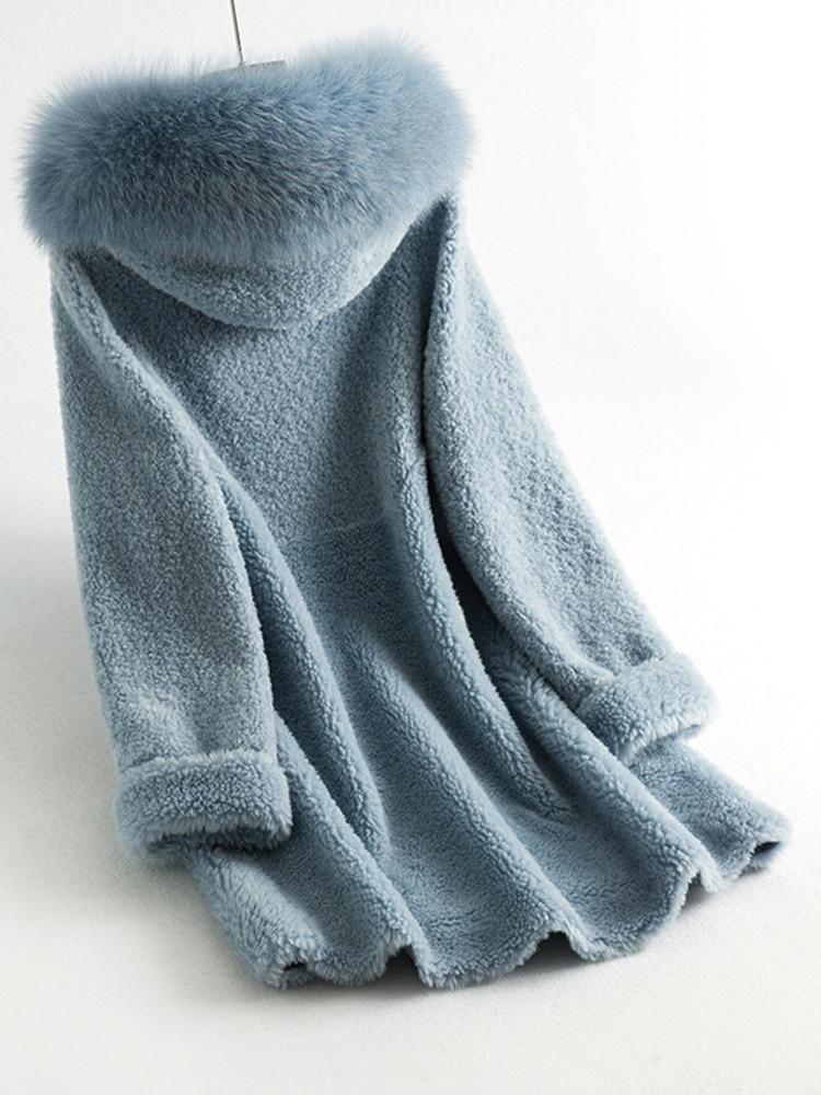 Coat Fur Real Female Sheep Shearling Jacket Winter Coat Women Clothes 2020 Fox Fur Collar Wool Coats Manteau Femme MY S