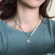 Kinel 925 Sterling Silver Necklace Ladies French Fine Jewelry Natural Pearl Necklace CZ Butterfly Pendant Clavicle Chain Gift n090612 21 white keshi pearl necklace cz pendant